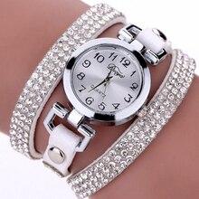 Rhinestones Genuine Leather Strap Women's Watches Luxury Ore Glass Dial Wrist Watch Casual Ladies Bracelet Quartz Watch Clock beads bow quartz wrist watch round dial leather strap for ladies