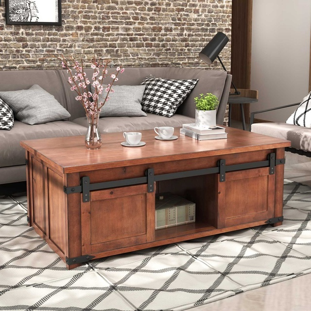 Coffee table With Storage Shelf and Cabinets, Sliding Doors 3