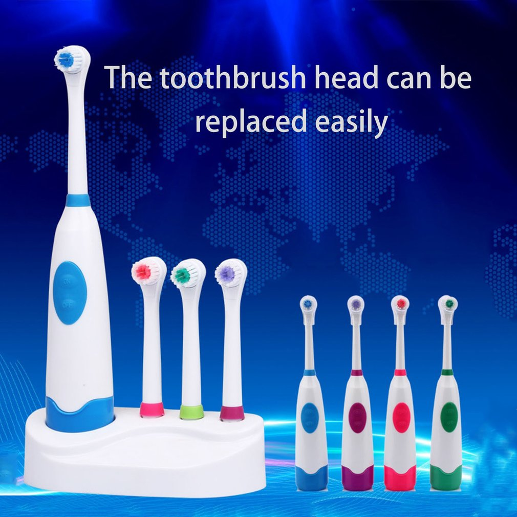Revolving Electric Toothbrush Waterproof Battery Electric Toothbrush Tooth Cleaning With 4 Brush Head 4 Shield and Base