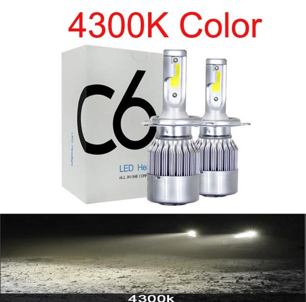 Muxall 2 шт. Blub авто автомобиль H8 H11 H7 H4 H1 светодиодный фары 6000 К холодный белый 72 Вт 8000 лм COB лампы Диоды автомобилей запчасти лампы - Испускаемый цвет: 4300K