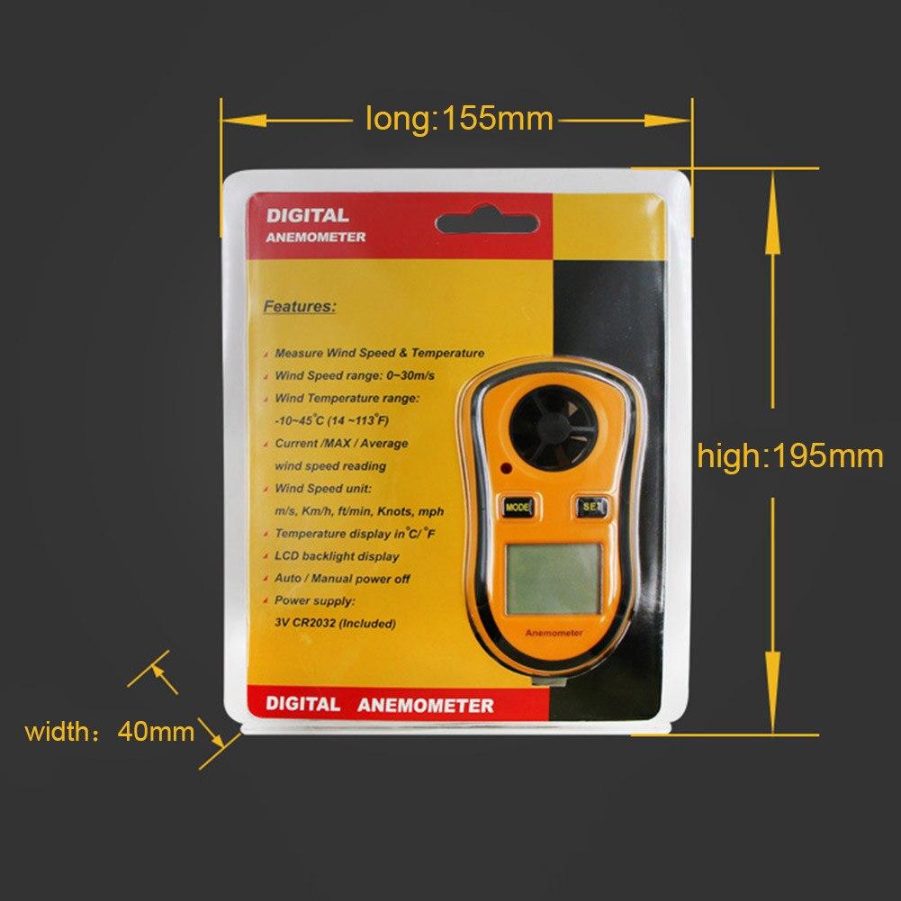 High Anemometer Thermometer Portable Anemometer Wind Speed Meter 0-30m/s Digital LCD Handheld  UEJ