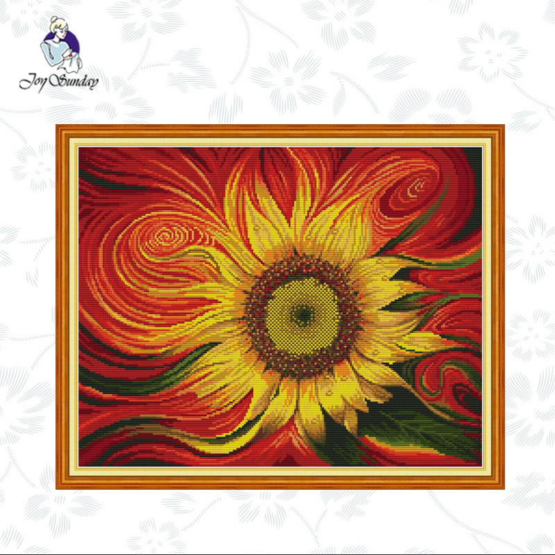 Easy Cross Stitch Sunflower Yellow Flower Counted Pattern DIY Embroidery KIT