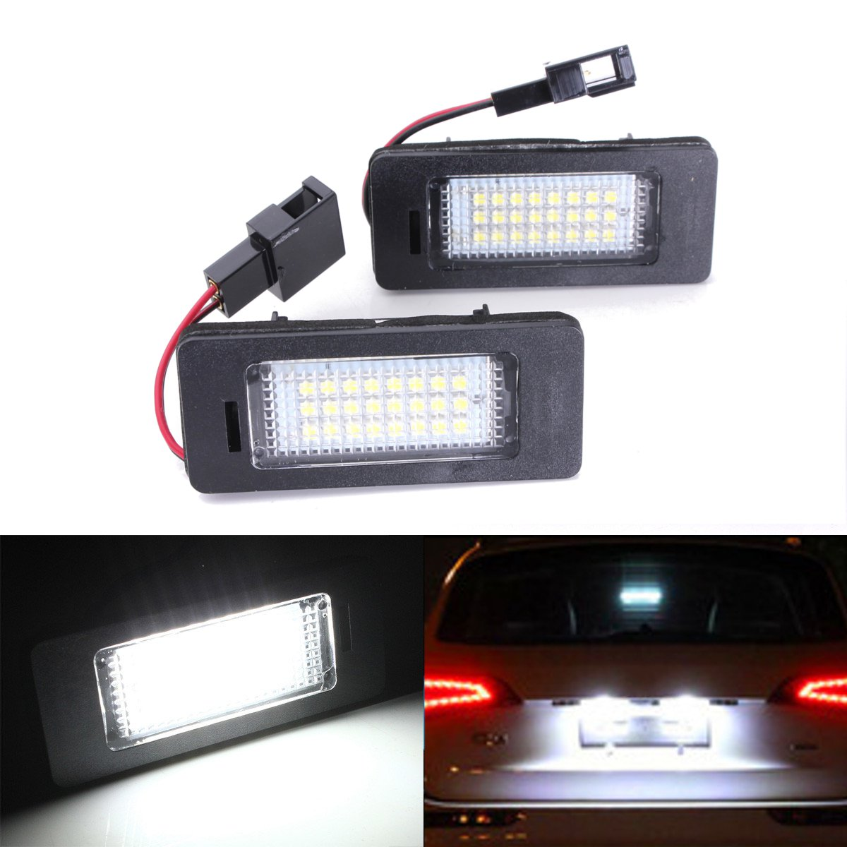 2x LED Car Number License Plate Light 12V SMD3528 For Audi A4 B8 A5 Q5 S5 TT A1 S4 A6 A7 2008-2013 Error Free