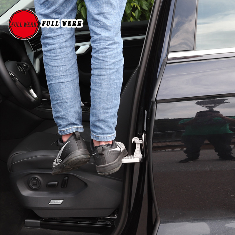 1pc Aluminum Alloy Car Door Lock Foot Stand Plate Climbing Pedal Holder Support For Touareg 11-18 19 Car Exterior Accessories