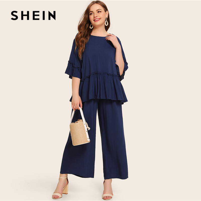 SHEIN Plus Size Navy Solid Frill Peplum Top And Wide Leg Pants Set 2 Piece Set Women Autumn Casual Abaya Two Piece Matching Sets