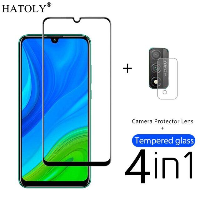 4in1 di Vetro Temperato Per Huawei P Protezione Dello Schermo Intelligente per Huawei P di Smart 2018 Copertura Completa PSmart Z Y5P Y6P y8S Macchina Fotografica Della Protezione