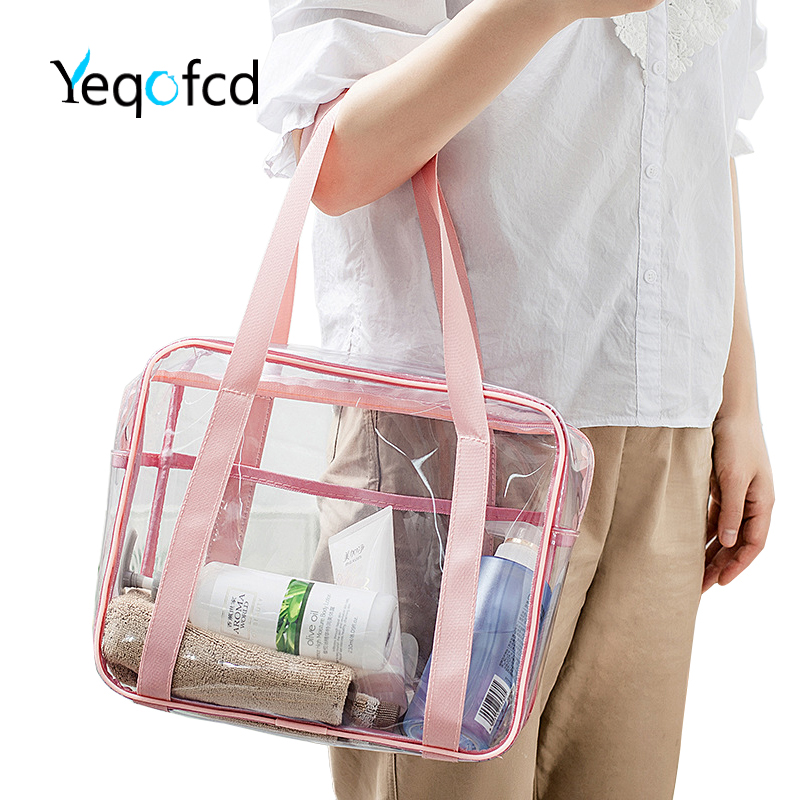 Yeqofcd Large Capacity Transparent Washing Bag PVC Handbag Travel Cosmetic Bags Waterproof Female Clear Tote With Zipper Handle
