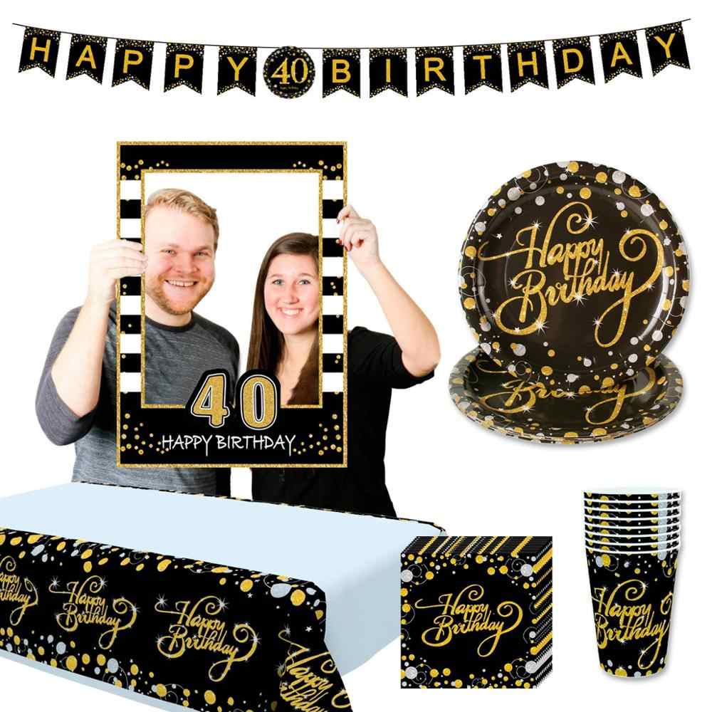 HUIRAN Globos de Oro Negro 30 40 50 años de alegría a 30 años de cumpleaños 40 años de cumpleaños 50 años de adornos fiestas