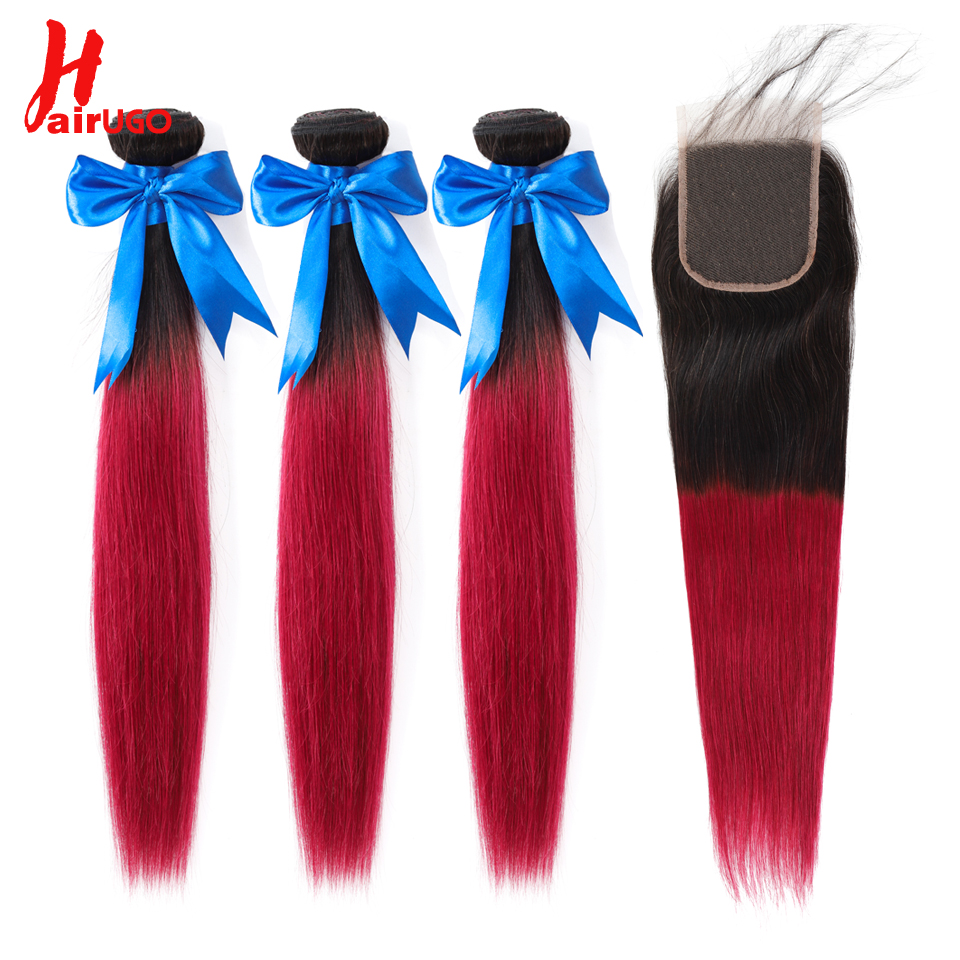 HairUGo Brazilian Hair Weave Bundles With Closure Ombre Straight Human Hair Bundles With Closure Non Remy Hair Extensions