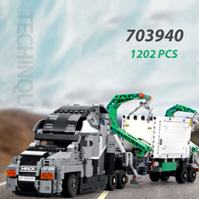 SEMBO Block 703940 1202PCS City TECHNIC Series The City Mack Truck Set Building Blocks MOC Bricks Mark Container Model Kids Toys lepin 02102 city series the mining experts site set with dump truck 60188 building blocks bricks funny toys model kids gifts