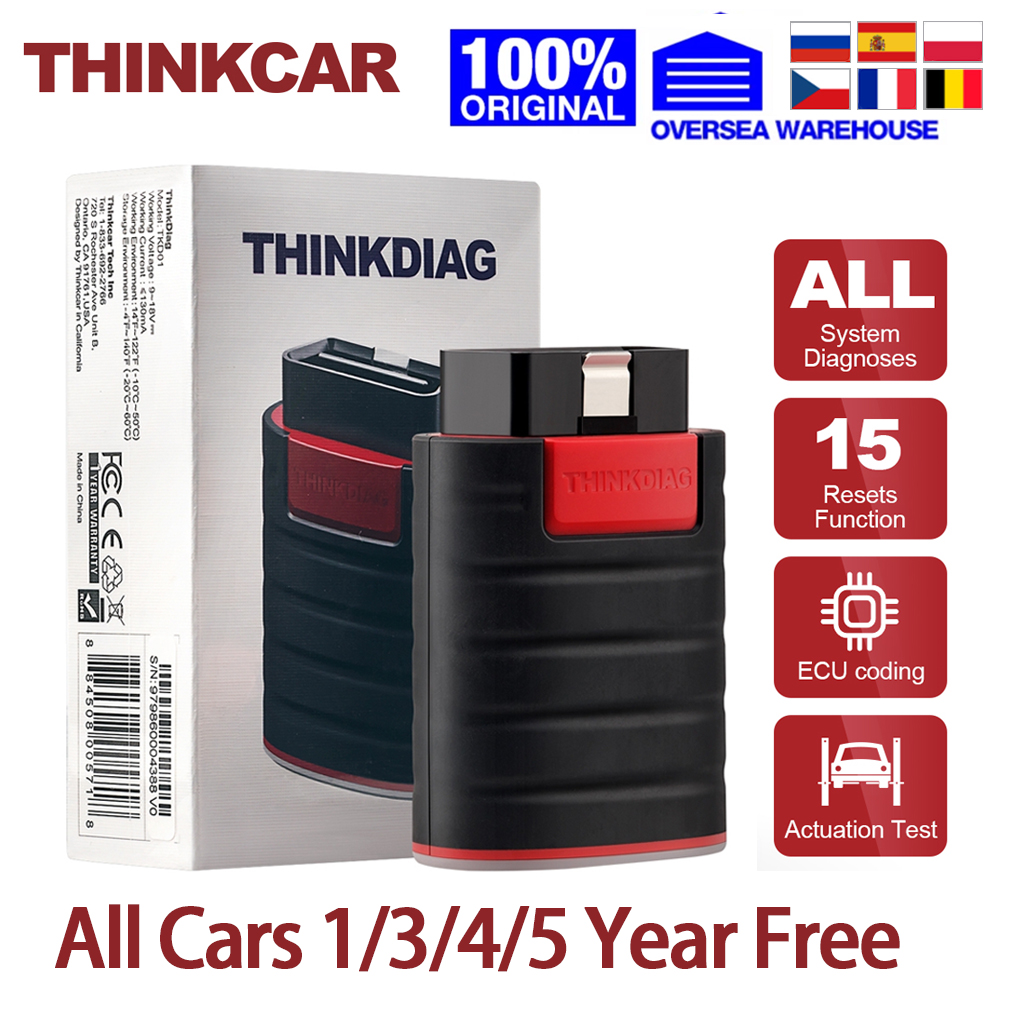 New Thinkcar ThinkDiag Full OBD2 All System Car Diagnostic Tool ECU Coding Car Code Reader Scanner 15 Resets Actuation Test