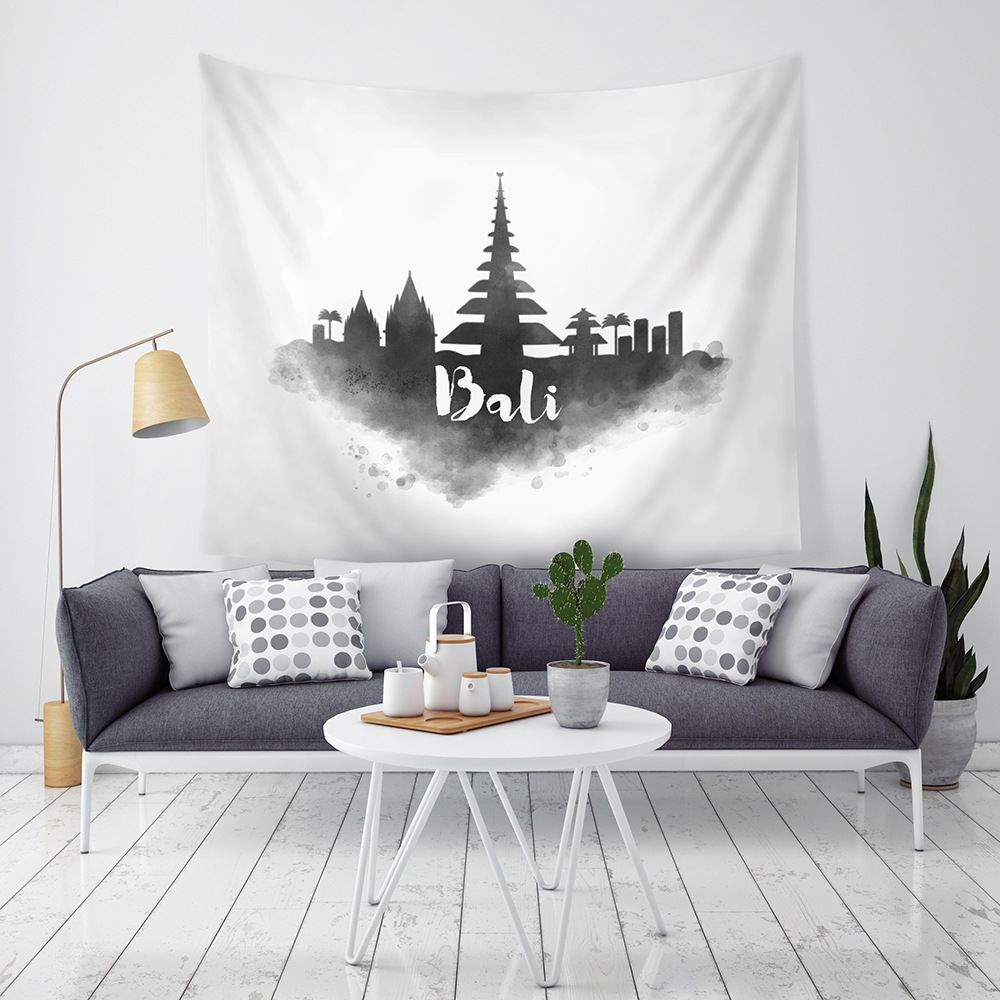 Yaapeet 1pc City Printed Wall Hanging Polyester Black Watercolor Wall Tapestry Fashion American Style Hanging Tapestry for Boys