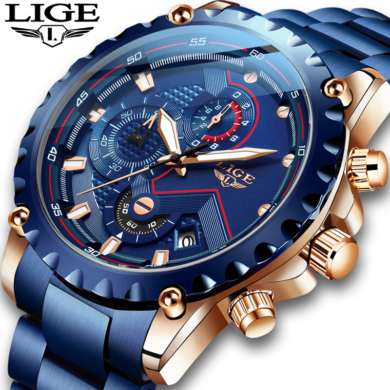 New 2020 LIGE Fashion Blue Stainless Steel Mens Watches Top Brand Luxury Waterproof Quartz Watch Men Date Dial Sport Chronograph