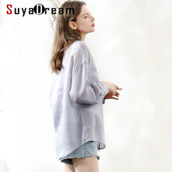 SuyaDream Women Solid Blouse 100%Ramie Long Sleeved  Embroidery Collar Casual Blouses 2020 Spring Summer Shirt