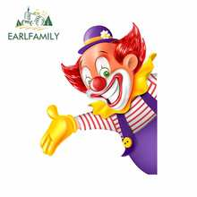 EARLFAMILY 13cm x 10cm Cartoon Circus Clown Decals Vinyl Fenster Auto Stamm Auto Aufkleber Kreative Doodle Grafiken