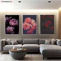 Современные Цветы Печать плакаты красочные пионы холст живопись на стене для гостиной спальни домашний декор растение искусство картины