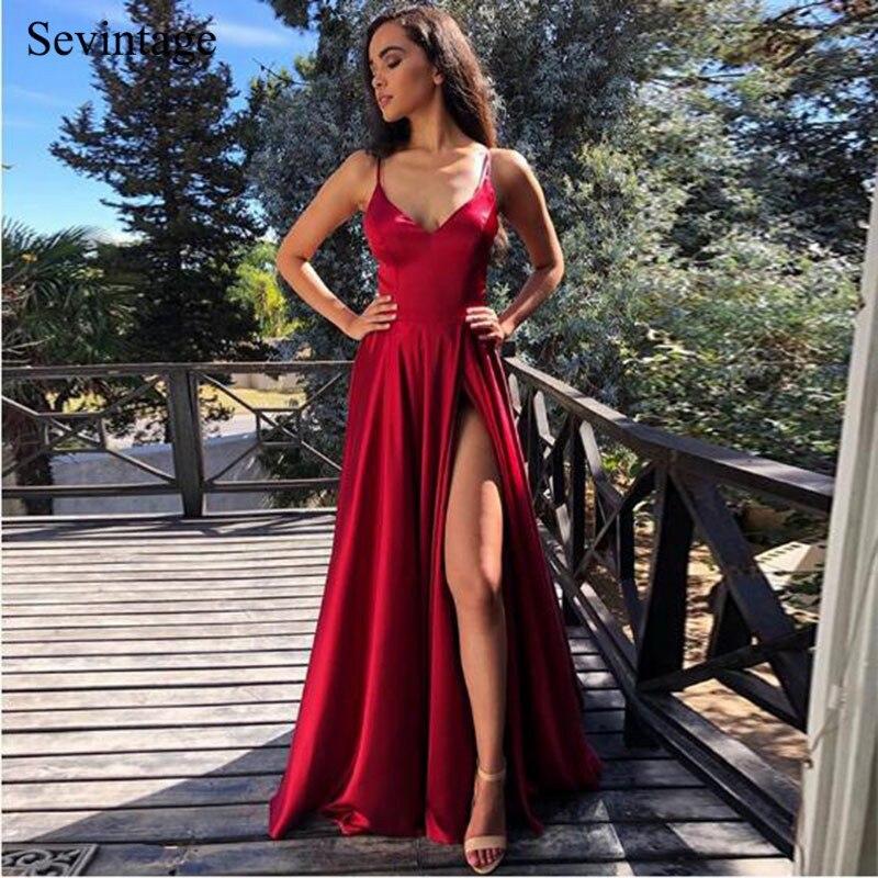 Sevintage Simple Burgundy Spaghetti Strap Satin Prom Dresses Women Formal Dress Slit Side Long Evening Gowns robe de soiree 2020