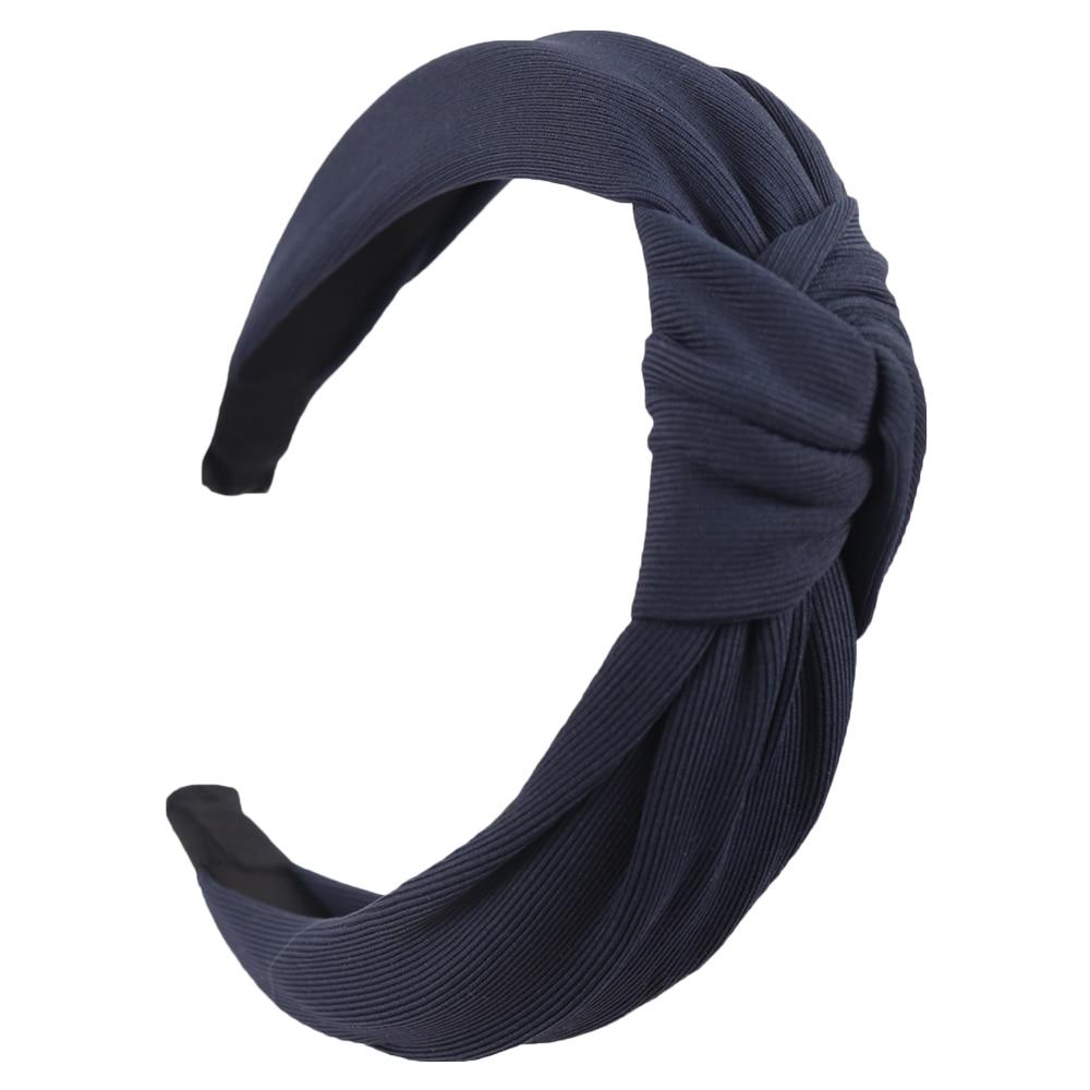 Couleur unie noeud bandeaux pour femmes Simple tissu filles bandeau femmes cheveux accessoires large côté bandeau 16