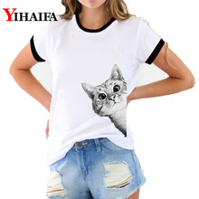цены на Stylish Women 3D Print T Shirts Cat Graphic Tees Fashion Lady Summer White Casual Unisex Cotton T-shirt Short Sleeve Tops  в интернет-магазинах