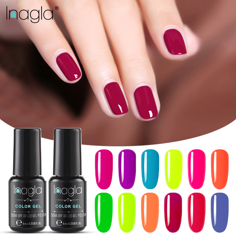 Inagla Fluorescent Soak Off Base Gel Top Coat Matte Top Gel Polish Nail Gel Lacquer 8 Ml Manicure Long Lasting Nail Color Gel