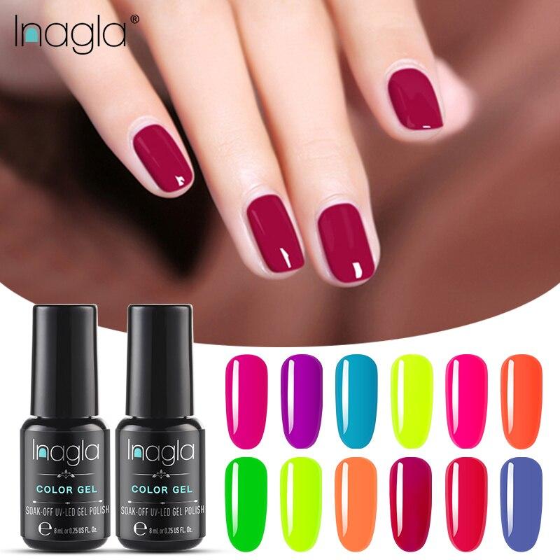 Inagla Fluorescent Soak Off Base Gel Top Coat Matte Top Gel Polish Nail Gel Lacquer 8 Ml Manicure Long Lasting Nail Color Gel