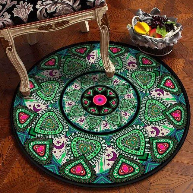Muslim Area Rugs Round Geometric Carpet Living Room Doormat Floral Carpets Door Floor Mat for Bedroom Carpet Anti slip Rug
