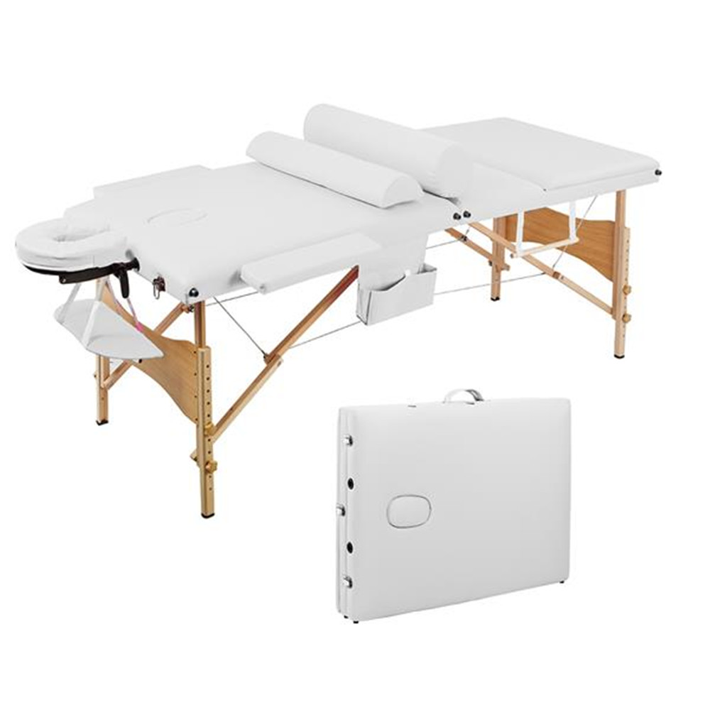 3 Sections Folding Portable SPA Bodybuilding Massage Table Set White  Beauty Salon Beauty Bed