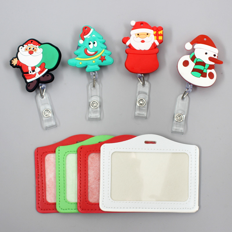 Colors Happy Father Christmas Tree Style Clown Retractable Creative Badge Card Holder Reel Nurse Exhibition Enfermera Name Chest