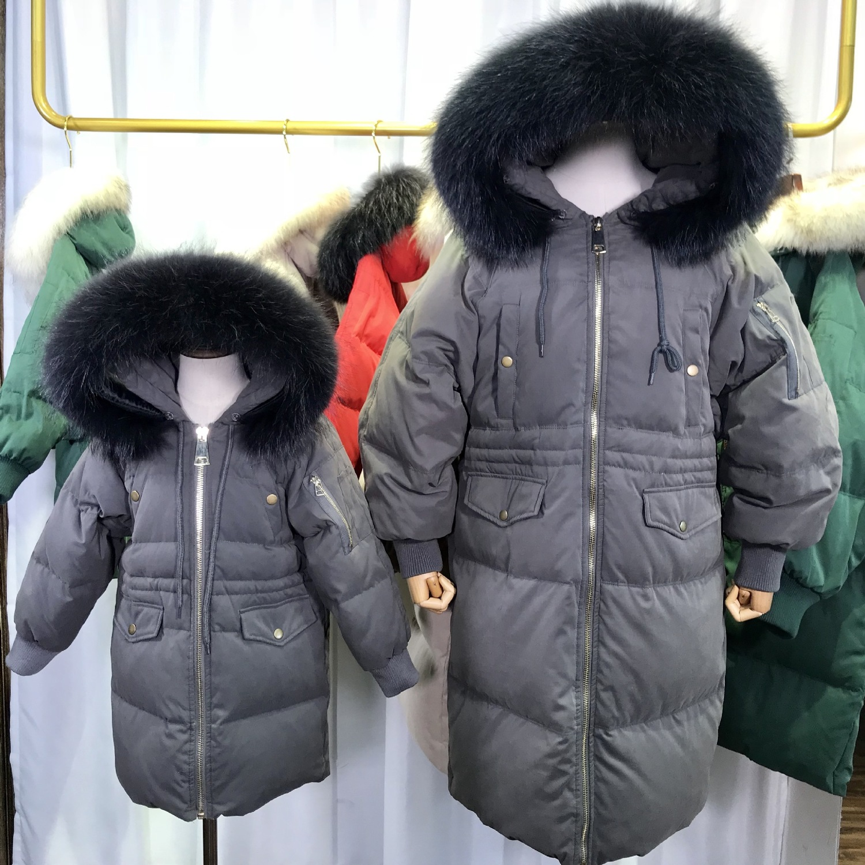 Natural Raccoon Large Fur Collar Duck Down Jacket Women Winter Warm Hooded Long Parkas Female Girls Outwear L2216