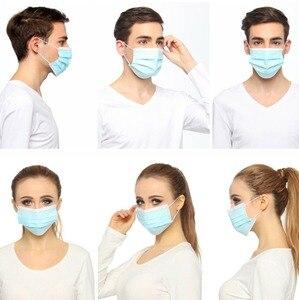 Image 5 - Masques jetables masque Non tissé à 3 couches masque Anti poussière masque de Protection respiratoire masque de Protection doux 10/50/100/200/500 pièces
