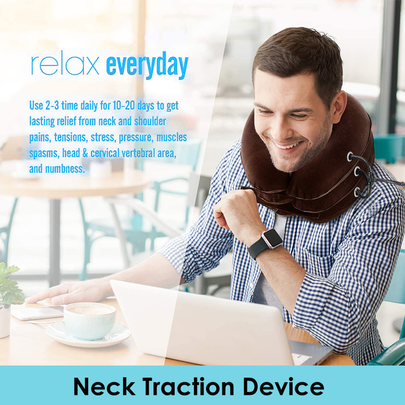 Cervical Neck Traction Inflatable Adjustable Neck Stretcher Provide Neck Support Neck Brace And Soft Orthopedic Pillow Household
