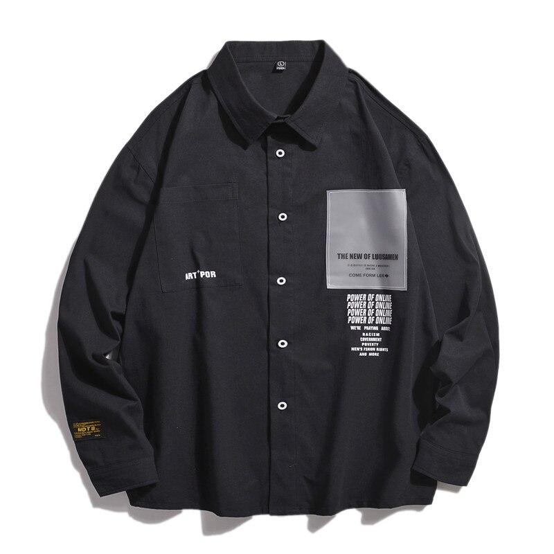 Men Shirt Long Sleeve Cotton Mens Shirts Spring Autumn Casual Shirt Streetwear Men Fashions Button Balck Shirts for Men