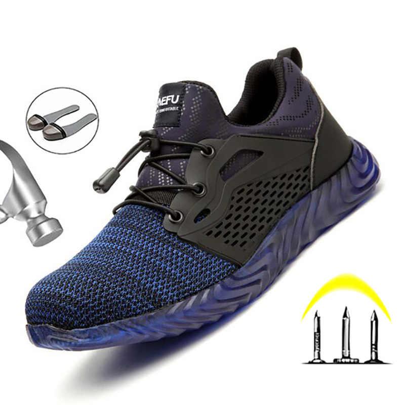 Manlegu 空気メッシュ鋼つま先作業靴通気性作業靴男安全軽量穿刺プルーフ安全ブーツドロップシッピング