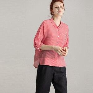 Image 3 - SuyaDream Blusa de media manga con estampado de crepé y seda, camisa a rayas para 100%, 2020