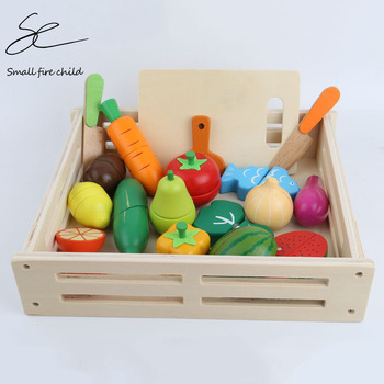 Kid's Kitchen Toys Wooden Pretend Toy Cutting Large Fruit Vegetable Miniature Food Girls Kitchen Set Baby Early Educational Toys