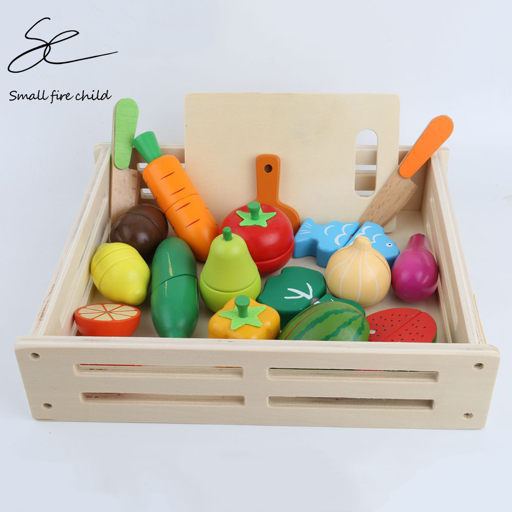 NEW Kid's Kitchen Toys Wooden Pretend Toy Cutting Fruit Vegetable Miniature Food Girls Kitchen Set Baby Early Educational Toys