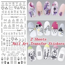 1 Sheet Nail Art Water Decals Letter Geometric Figure Transfer Stickers Manicure Paper DIY Decoration