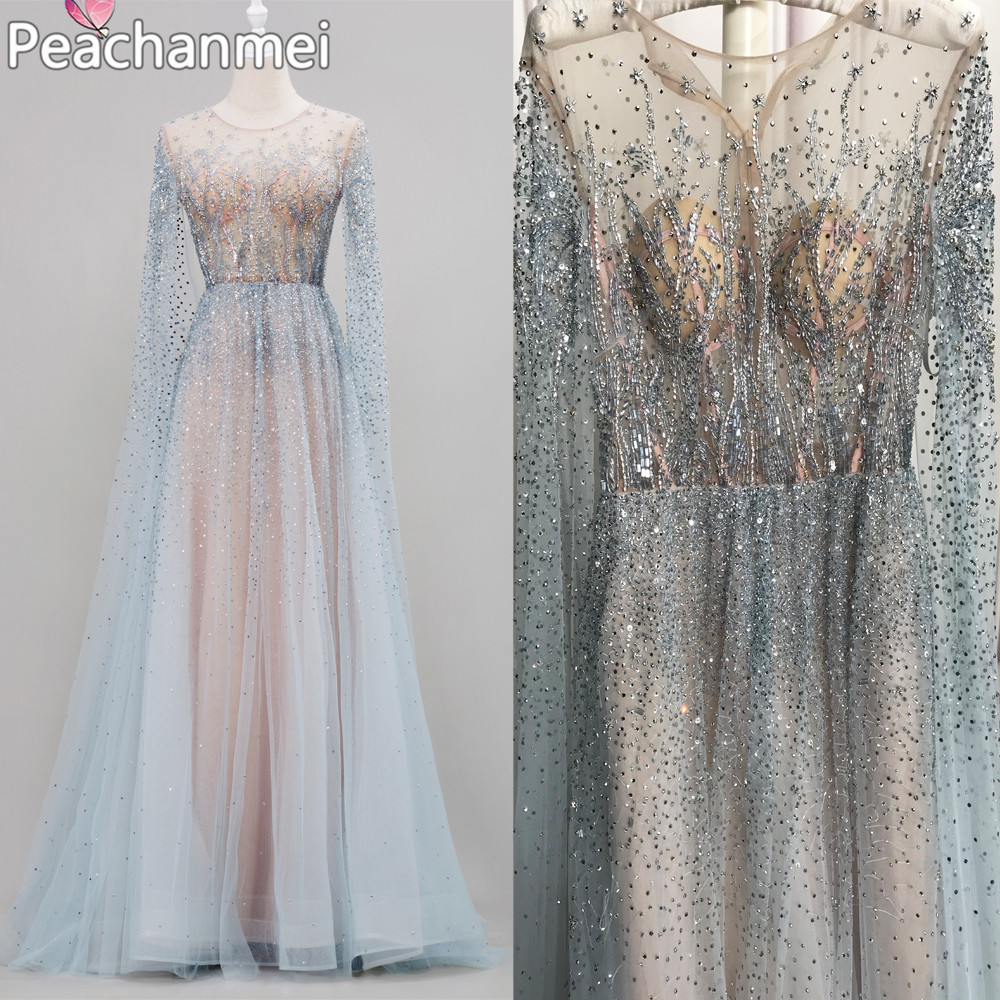 Luxury Formal Evening Dress Prom Dresses 2020 Long Sleeves Beading Robe De Soiree Elegant Military A Line Ball Gowns