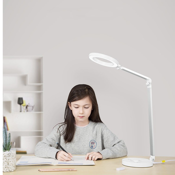 Black White Modern LED Desk Lamp with USB Port for Charging Phone Foldable Eye Care Dimmer Office Study Reading Desktop Light