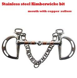 Frete grátis aço inoxidável kimberwicke bit. articulado boca com ss & rolos de cobre. bit cavalo, produto de cavalo (bt0904)