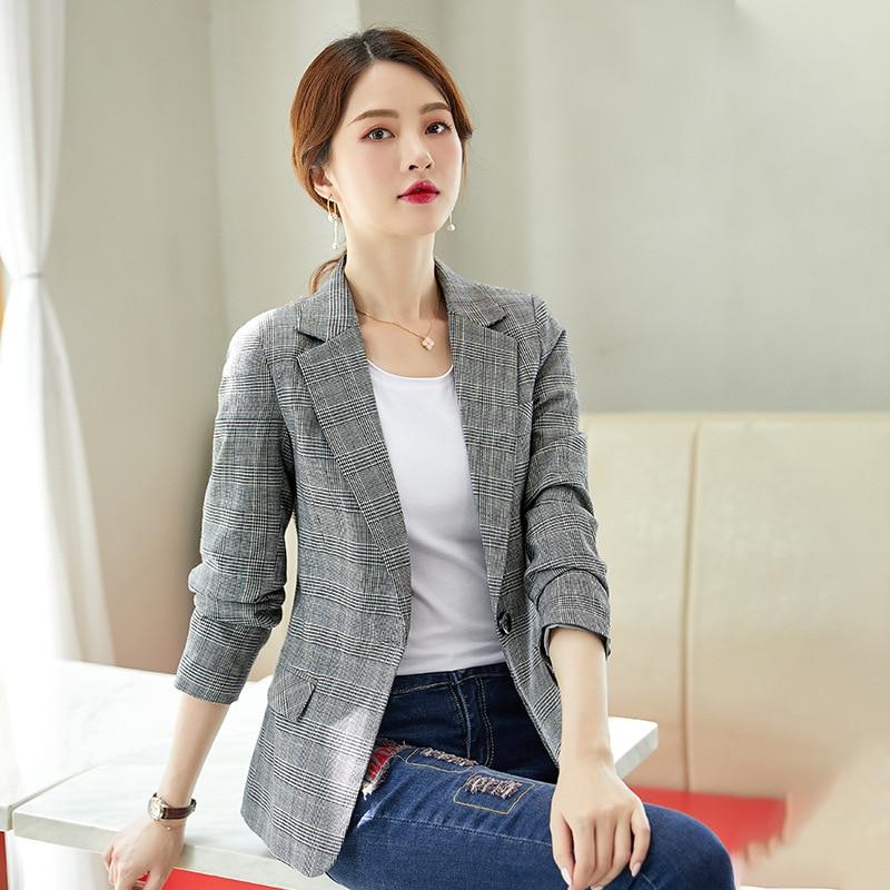 High quality women's blazer 2020 spring and autumn Slim professional ladies jacket feminine coat Female Small suit temperament