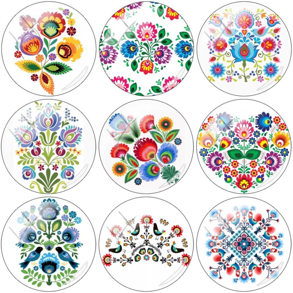 JWEIJIAO Polish Folk Art Patterns 12mm/15mm/16mm/18mm/20mm/25mm DIY Material Glass Cabochon Demo Flat Back Making Findings PF126(China)