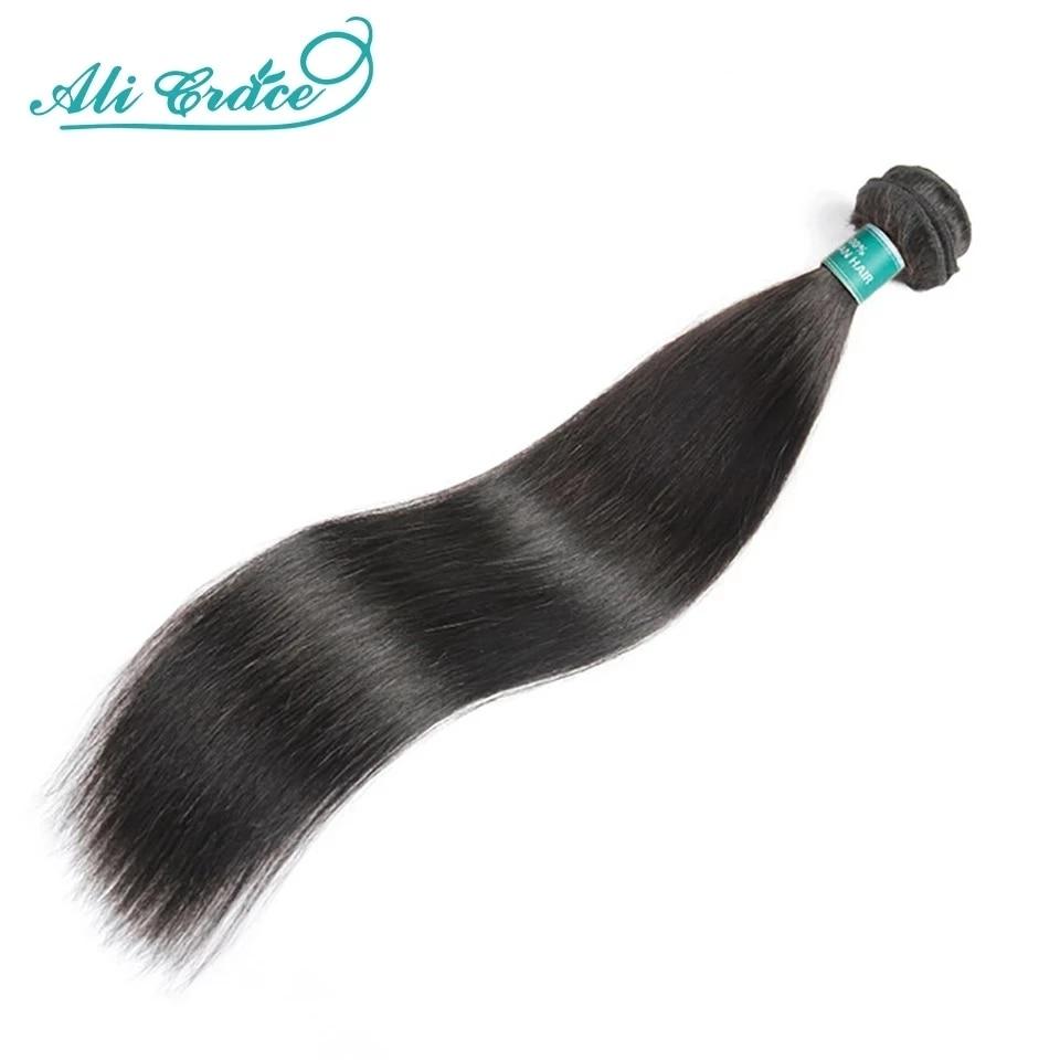 ALI GRACE волосы бразильские прямые волосы пряди 1/2 шт прямые человеческие волосы пряди 30 32 34 дюймов Remy волосы плетение естественный цвет