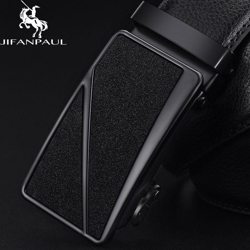 Бренд JIFANPAUL, мужской ремень из натуральной кожи, черный, модный, сплав, люкс класс, автоматическая пряжка, Молодежный кожаный Простой деловой