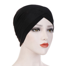 Foulard hijab pour femmes musulmanes, casquettes intérieures, bandeau islamique croisé, turban, enveloppement de la tête, voile