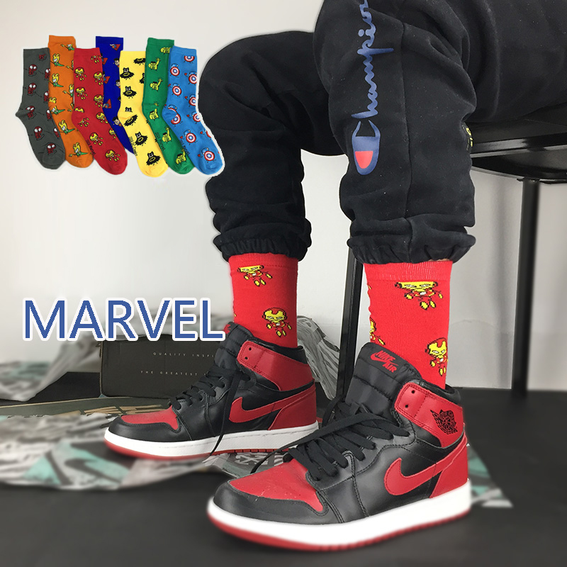 Marvel Socks Comics Hero General Happy Socks Cartoon Iron Man Captain America Warm Stitching Pattern Antiskid Casual Sock