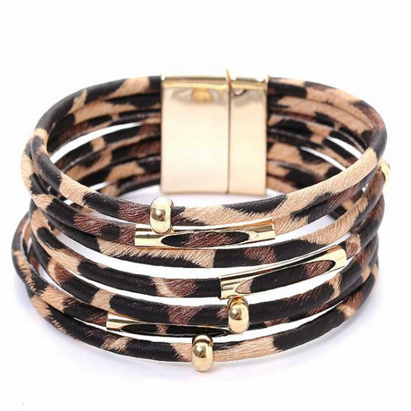 Fashion Leopard Leather Bracelets For Women Charm Bracelets & Bangles Elegant Multilayer Wide Wrap Bracelet Pulseras Jewelry