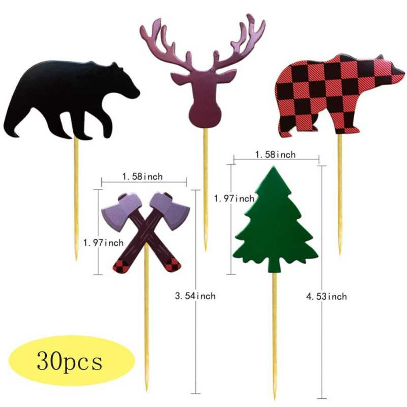 30Pcs Lenhador Séries Tema Bolo Insert Bonito Animal Da Selva Série Do Partido Decoração Do Bolo De Aniversário Do Miúdo Do Presente Do Partido