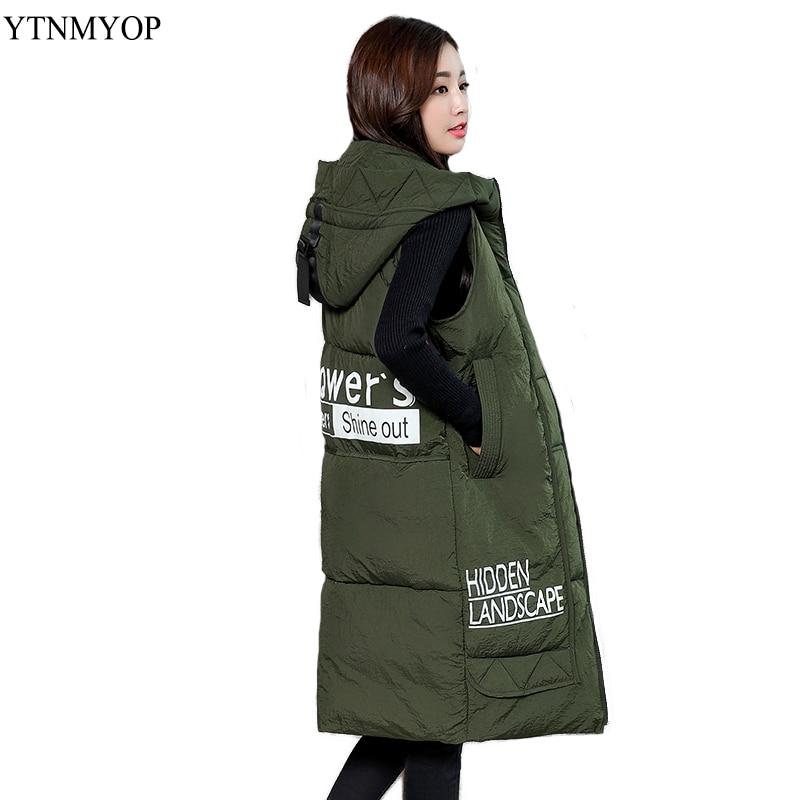 YTNMYOP Warm Waistcoat Hooded Winter Vest Women Autumn Long Style Plus Size 3XL 4XL Casual Thick Jacket Coat Sleeveless