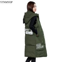 YTNMYOP Warm Waistcoat Hooded Winter Vest Women Autumn Long Style Plus Size 3XL 4XL Casual Thick Jacket Coat Sleeveless